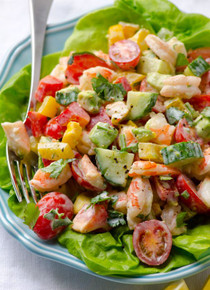 Greek Yogurt Shrimp, Avocado and Tomato Salad - (Free Recipe below)