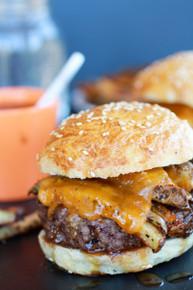 Cheesy French Fry Bourbon Burgers - (Free Recipe below)