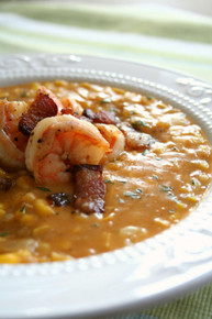 Sweet Corn, Peppered Bacon and Shrimp Chowder - (Free Recipe below)