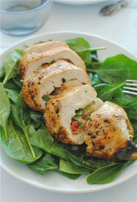 Cheesy Asparagus and Roasted Red Pepper Stuffed Chicken - (Free Recipe below)