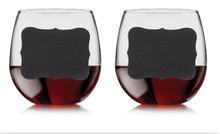 Chalkboard White or Red Wine Glasses - Set of 2