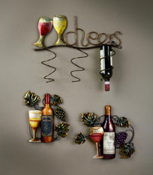 """""""Cheers"""" 3 Place Wall Wine Bottle Holder"""