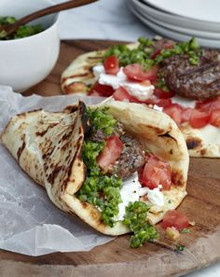 Lamb Burgers with Green Harissa Pita Wrap - (Free Recipe below)