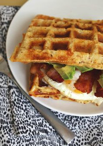 Bacon, Cheddar and Scallions Waffle Egg Breakfast Sandwich - (Free Recipe below)