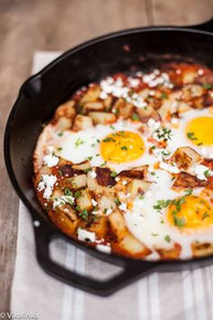 Spanish Hash Patatas Bravas and Eggs - (Free Recipe below)