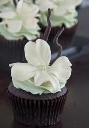 Dogwood Flower Chocolate Cupcakes - One Dozen