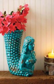 Turquoise Mermaid Ceramic Vase / Utensil Holder