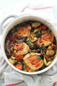 Baked Chicken with Spinach and Artichokes - (Free Recipe below)