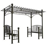 Double Bench Iron Pergola Arbor - custom sizes, styles available