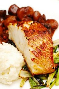 Black Cod w/ Balsamic Braised Shallots, Mashed Potatoes & Green Onions - (Free Recipe below)
