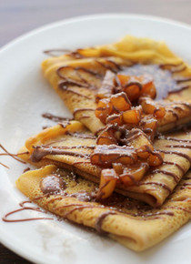 Pumpkin Crepes w/ Beer and Cinnamon Apples and Chocolate Drizzle - (Free Recipe below)