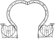 Three Heart Shaped Arch w/ Planters