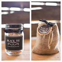 Black Tie Caramel Gift Set - One 1/2 lb Jar & One 7oz. Burlap Sack
