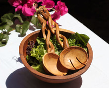Olive Wood Twisted Salad Servers