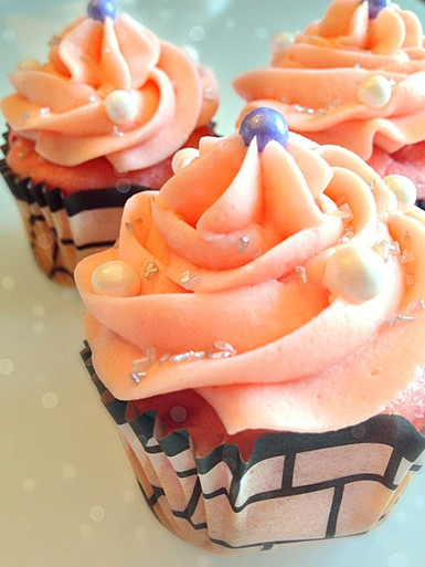 ... & Sweets Cupcakes Pink Strawberry Champagne Cupcakes - One Dozen
