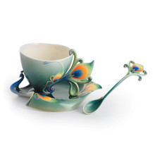 Franz Collection Luminescence Peacock Cup Saucer & Spoon