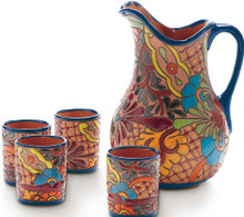 Spanish Painted Cups and Pitcher