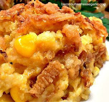 Buttery Corn Casserole w/ Cheddar, French-fried Onions and Cornbread - (Free Recipe below)