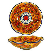 Red Swirl Sicilian Serving Bowl