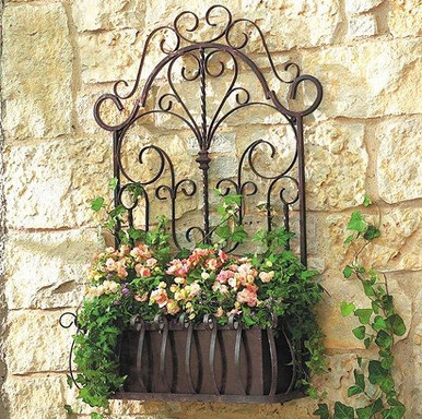 Metal Wall Planter mediterranean tuscan wrought iron metal wall planter