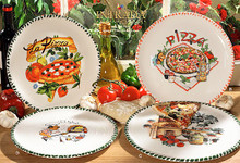 Italian Ceramic Pizza Plates - Set of 4