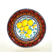 Red Swirl Lemon Wall Plate