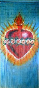 Sacred Heart Bamboo Beaded Curtain