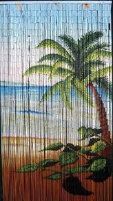 Palm Tree Beach Scene Bamboo Beaded Curtain