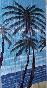 Three Palm Trees Bamboo Beaded Curtain
