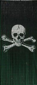 Skull Crossbones / Jolly Roger Bamboo Beaded Curtain