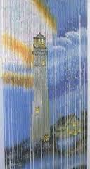 Lighthouse w/ Home Bamboo Beaded Curtain