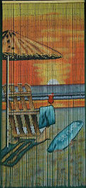 Beach Chair w/ Umbrella Bamboo Beaded Curtain