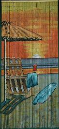 Beach Chair w/ Umbrella Bamboo Beaded Curtain
