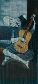 Picasso the Old Guitarist Bamboo Beaded Curtain