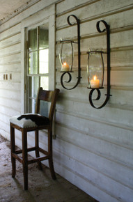 Flat Iron Wall Sconce with Glass Hurricane - Set of 2