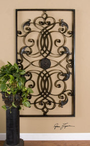Large Oversized Tuscan French Metal Iron Scroll Wall Décor Grille