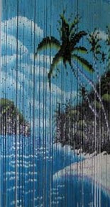 Sandy Palm Bamboo Beaded Curtain