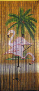 Pink Flamingo Bamboo Beaded Curtain