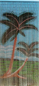 Two Palms Bamboo Beaded Curtain