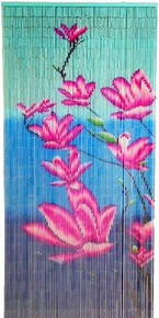 Pink and Blue Flowers Bamboo Beaded Curtain