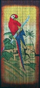 Red Parrot Amazon Bamboo Beaded Curtain