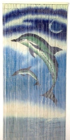 Dolphins Jumping Bamboo Beaded Curtain