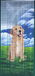 Dog Companion Bamboo Beaded Curtain