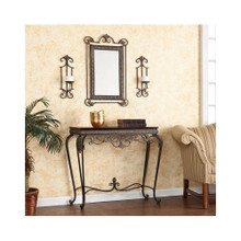 Entryway Hall Table 4 Piece Set Mirror Wall Sconces Decor