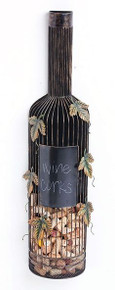 Large Metal Wine Bottle Cork Holder with Chalk Board Label