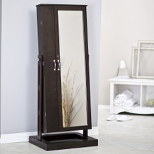 Bordeaux Locking Cheval Mirror Jewelry Floor Armoire, several colors