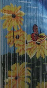 A Butterfly on Flowers Bamboo Beaded Curtain
