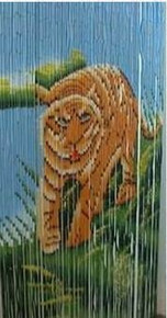 Blue Sky Tiger Bamboo Beaded Curtain