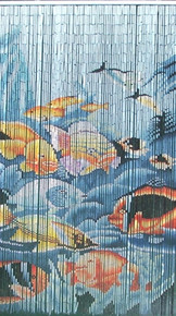Tropical Fish Bamboo Beaded Curtain
