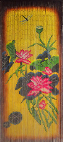 Dragonfly with Tropical Flowers Bamboo Beaded Curtain
